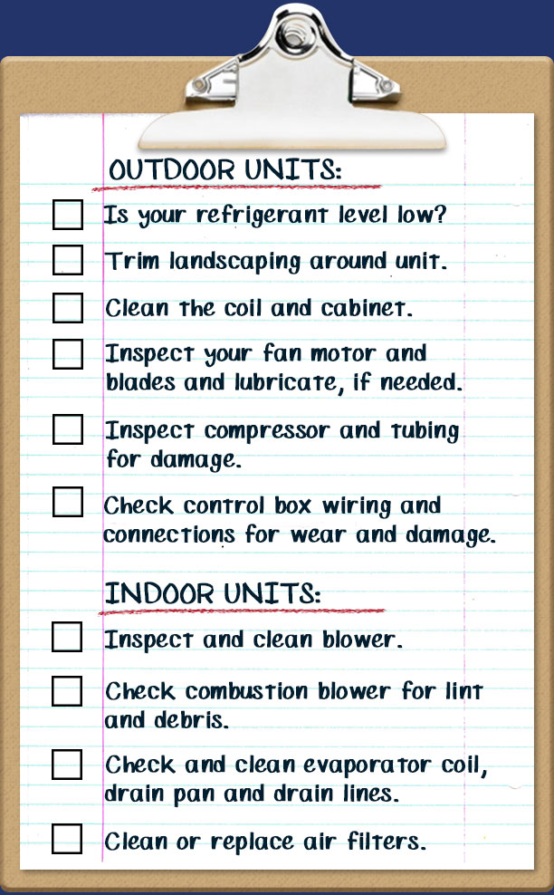 Is your ac ready for summer summer maintenance checklist the last thing your want is your air conditioner to fail on a 100 degree day how many boxes have you checked on our summer maintenance checklist altavistaventures Choice Image
